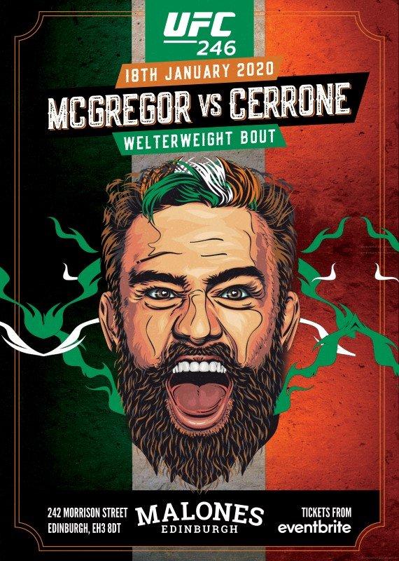 Ufc 246 Mcgregor V Cerrone Watch Live At Malones